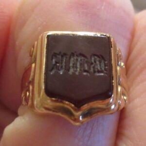 Gorgeous Antique Georgian Gold Carnelian Intaglio Seal Signet Ring Scrolled H1/2