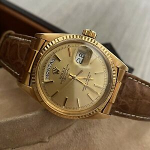 Authentic Rolex Day Date 1803 German 36MM 18K Gold Crocodile