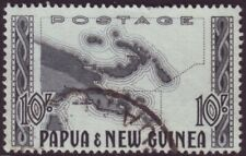 PAPUA NEW GUINEA TEN SHILLINGS MAP - FINE USED (A11743)