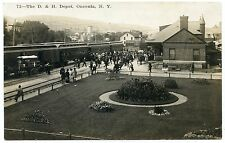RPPC NY Oneonta #72 D&H RR Railroad Station Depot with Train 1911 Otsego County
