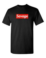 Savage Red Box Logo T Shirt - 21 Savage men t shirt