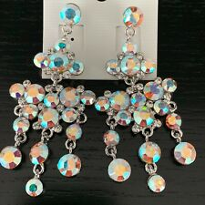 Luxury Statement Crystal AB Dangle Drop Style Evening Prom Party Earrings
