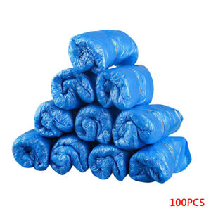 100 Pcs Waterproof Boot Plastic Disposable Shoe Covers Rain Shoe Mud-proof Blue