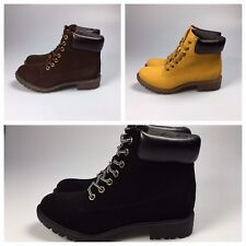 Hiking Lace Up Ankle Boots Black Brown Mustard Available Sizes UK 6  UK 7