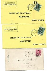 4 US Vintage COVERS NY1881, 19th CENTURY, - 258- 3¢ Wash,  # 220 - 2¢ Wash,