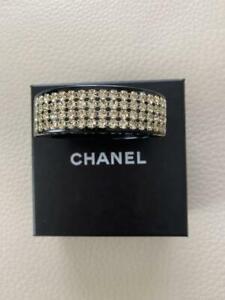 Authentic CHANEL Rhinestone Bangle Bracelet Black Used from Japan F/S