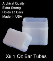 2 Sure Safe Bullion Tube Storage Silver Copper Holder 1oz BAR INGOT Case Tubes