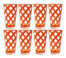QG Set of 8 Helix Acrylic Plastic Ice Tea Cup Drinking Glass Tumbler Orange 22oz
