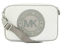 Michael Kors Fulton Sport Cross Body Box Bag PVC White Monogram Medium Handbag