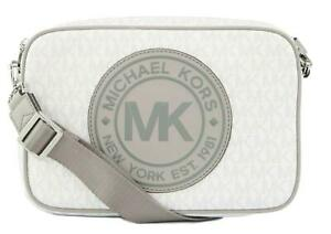 Michael Kors Fulton Sport Cross Body Shoulder Box Bag White PVC Monogram Medium