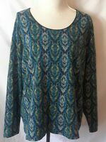 Kim Rogers Womens Top Size XL Multicolor Print Scoop Neck Long Sleeve