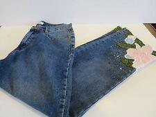 Jade Melody Tam Designer DeJeans Size 8 Beaded Embellished Flower Leaf