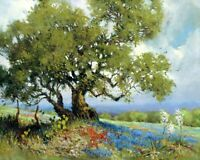 Landscape with Texas Bluebonnets Oil painting Giclee Art Printed on canvas L2073