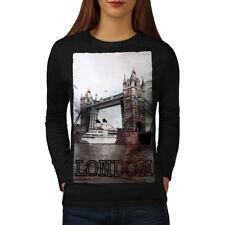 Wellcoda Tower Bridge Urban Womens Long Sleeve T-shirt, London Casual Design