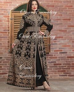 Embroidered Palestinian Maxi Dress Long Sleeves Kaftan Palestinian Embroidery