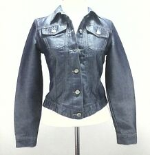 TODD OLDHAM Denim Jacket Vintage 90's Trucker Blue Shiny Jean Women's sz S RARE