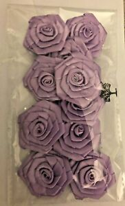 10 X large Fabric Flowers Heads Lilac  Embellishments