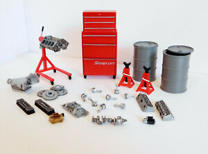 1:18 Custom Diorama Garage Accessories - Engine transmission tool box parts etc.