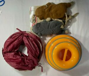 "3 CAT TOYS - 44"" LONG TUNNEL, 2-CATNIP MICE & 3-TIER CIRCLE AND BALL TOY"