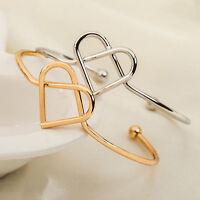 Fashion Women Gold Silver Punk Heart Cuff Bracelet Bangle Wristband Jewelry