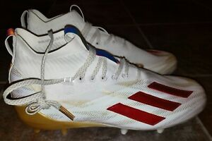 adidas GZ8855 Adizero 11.0 Gold Red White Men's Size 10.5 Football Cleats RARE