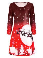 Damen Mädchen Weihnachten Weihnachtsmann Elch Schneemann Swing Kleid Minikleid
