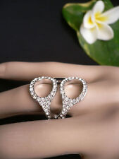 NEW WOMEN SILVER METAL SCISSORS CLEAR RHINESTONES TRENDY FASHION RINGS ONE SIZE