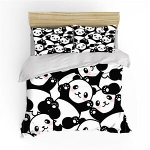 Panda Black Duvet Quilt Cover Set Single Double King Super King Size Bed Set