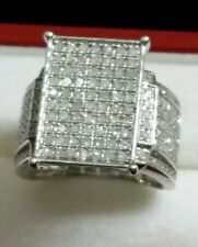 ⭐NEW HUGE WIDE 14K WHITE GOLD STERLING SILVER 1 1/2 1.5 CT GENUINE DIAMOND RING7