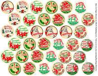 Milk Cap Stickers, Christmas Kitchen Milk Bottle Cap Reproduction Tags, 1 Sheet