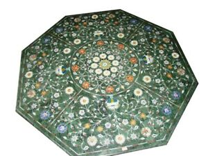 """36"""" green Marble coffee side Table Top floral Inlay art work"""