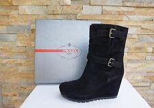 PRADA Gr 40 Stiefeletten Booties Schuhe shoes Kalb black nero neu UVP580€