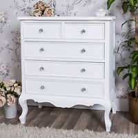 White Wooden Chest Of Drawers Ornate Shabby Vintage Chic Bedroom Furniture Home