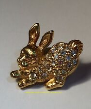 Avon Gold Tone Rhinestones Bunny Rabbit Label Pin Pinback Brooch Collectible