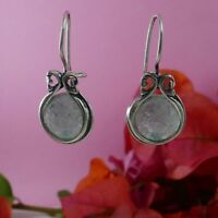 SPIRA Handmade Green Roman Glass Stone 925 Sterling Silver Drop/Dangle Earrings