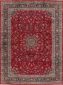 Vintage Floral RED/NAVY Oriental Ardakan Area Rug Wool Hand-Knotted Carpet 8x12