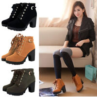 Women Lace Up Mid High Block Heel Ankle Boots Platform Zip Buckle Suede Shoes SZ