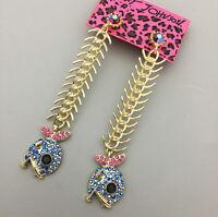 Women's Blue Crystal Fish Bones Betsey Johnson Dangle Drop Earrings