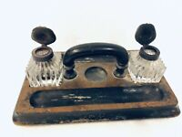 Vintage Double Glass Inkwells Hinged Metal Lids Wood Desk Stand w/ Handle Set