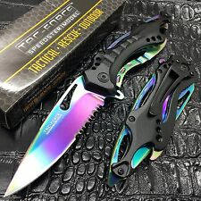 TAC-FORCE Spring Assisted Speedster Rainbow Blade Camping Rescue Pocket Knife
