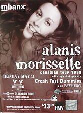 ALANIS MORISSETTE / CRASH TEST DUMMIES 1999 TORONTO CONCERT TOUR POSTER