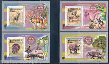 CHAD 2013 ADDAX & RHINOCEROS ROTARY SET OF FOUR  DELUXE SOUVENIR SHEETS  MINT NH