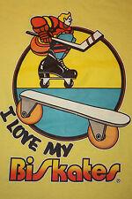 S * Nos vtg 70s Biskates roller hockey t shirt * bi skates
