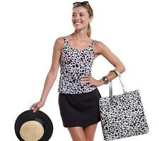 New ISAACMIZRAHILIVE Leopard Print Classic Skirtini  swimsuit women's sz 18W