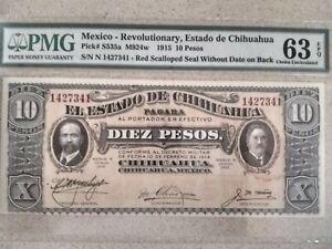 1915, Mexico, Revolutionary, Chihuahua, 10 Pesos, 63 PMG, EPQ, Unc.