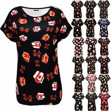 Womens Ladies Xmas Gift Tree Bells Christmas Baggy Oversized Batwing T Shirt Top