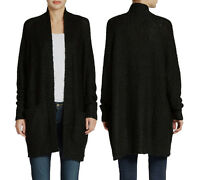 New French Connection Women Black Oversize Fluff Knit Cardigan Sweaters Jacket
