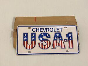 Vintage Chevrolet License Plate USA-1 OEM Dealer Plate NEW Mint Small Slot