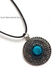 Silver Turquoise Medallion Necklace Pendant Southwest Indian Style Aqua Crystals