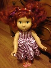 Fancy Nancy Red Curly Hair Doll White Purple Dress 18 inches Jakks Pacific 2008